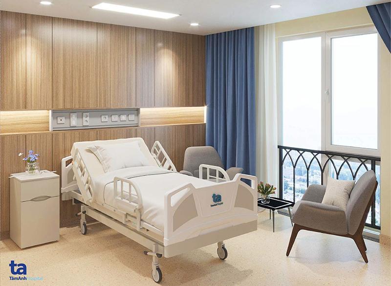 Giường bệnh tại phòng nội trú Tâm Anh