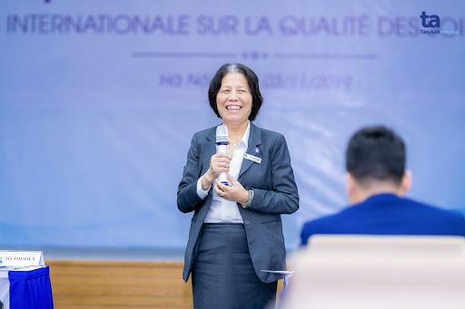 ThS. Tô Thị Điền - Giám đốc điều dưỡng BVĐK Tâm Anh phát biểu tại hội thảo.
